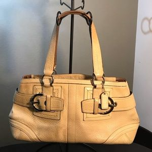COACH Hampton Beige Leather Satchel Bag M05S-2764
